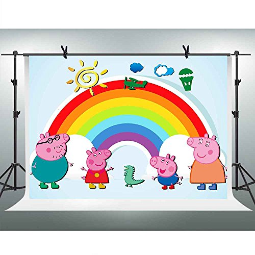 FHZON 10x7ft Cartoon Image Peppa Pig Photography Backdrop Family Rainbow Background Themed Party YouTube Backdrops Photo Booth Studio Props PFH333