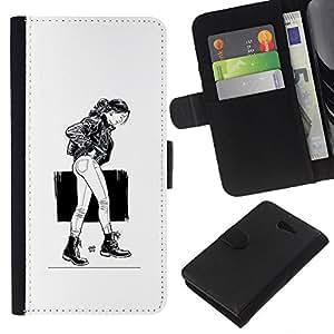 LECELL--Cuero de la tarjeta la carpeta del tirón Smartphone Slots Protección Holder For Sony Xperia M2 -- Chica Emo Sexy --