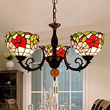 Tiffany Style Chandelier American Pastoral Stained Glass Ceiling Light Creative 3-Heads Pendant Light for Living Room Bedroom Study Restaurant, E27, Max40W3