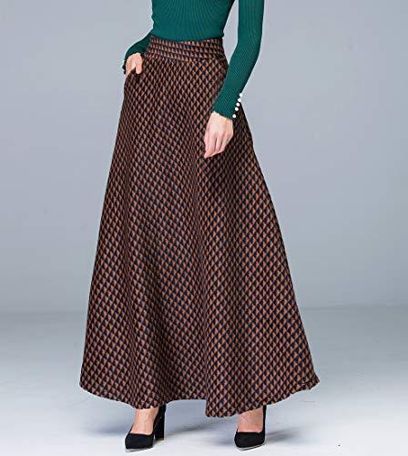 Femme Taille de Houndstooth lastique Laine Longue Ligne Jupe Automne A lgant Haute Hiver Jupes Brun plisse Chaud Taille HxHwO4r