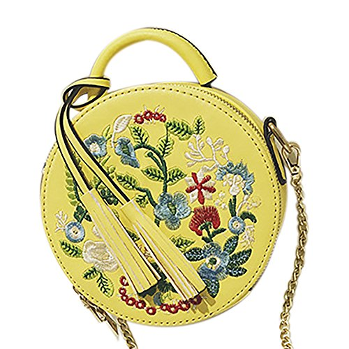 Shoulder Ethnic Women's Top Bag Style Round Tote Bag Handle Handbag Crossbody Embroidered Yellow X1qqfUw