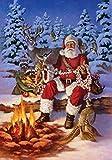 Cheap Toland Home Garden Fireside Santa 28 x 40 Inch Decorative Christmas Winter Snow Forest Animal Deer Bird House Flag