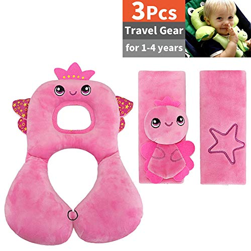 3 Packs, Toddler Head Support Pillow and 2 Car Seat Belt Shoudler Pads, Baby Headrest and Neck Support Travel Pillow and Seat Belt Shoulder Strap Covers Cushion Pads, Soft Cotton, for 1-4 Years, Pink