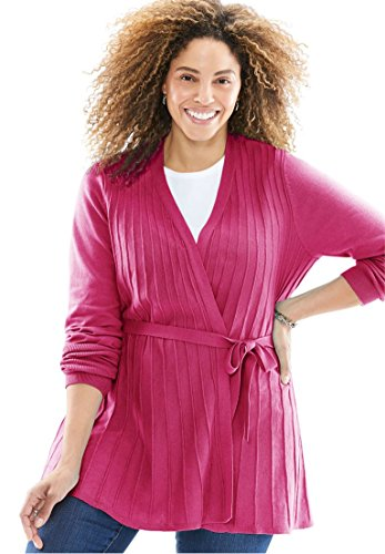 Women's Plus Size Open Front Long Sleeve Belted Ottoman Stitch Cardigan Ruby