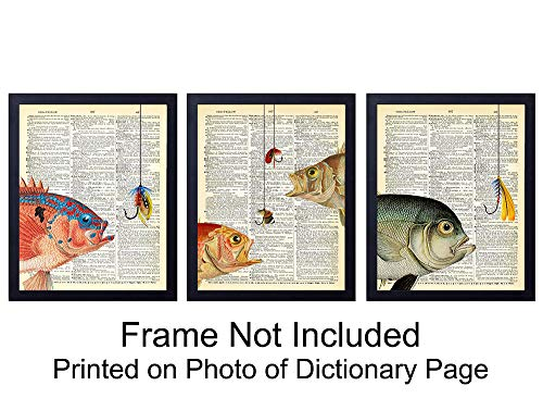 Fish Set of Wall Art Prints on Dictionary Photo - Set of Three Ready to Frame (8x10) Vintage Photo - Perfect Gift for Fishermen Fly Fishing and Great Beach House Home Decor