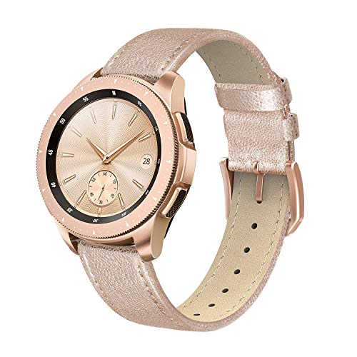 - SWEES Leather Band Compatible for Galaxy Watch 42mm & Gear S2 Classic & Gear Sport, 20mm Genuine Leather Design Thin Bands Strap with Quick Release for Samsung Galaxy Smartwatch 42mm Women, Rose Gold