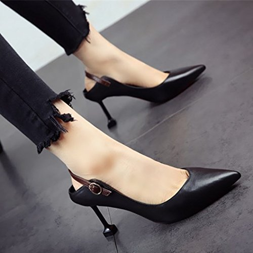 único sandalias temperamento b FLYRCX zapato fino elegante afilados señoras verano sexy de y tacón de moda Primavera y de cuero zapatos RwgRvqxPH