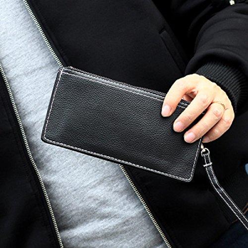 ASDYO Nueva Sección Larga De Los Hombres Y Las Mujeres Tejen Marea Minimalista Billetera Black