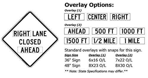48''x48'' Right Lane Closed Ahead Reflective Roll-Up Sign w/Rib Sign Support Kit