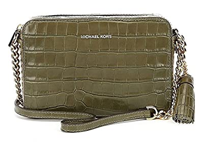 4c3b3e53019e Image Unavailable. Image not available for. Color: Michael Kors Ginny  Embossed-Leather - Crossbody - Olive ...