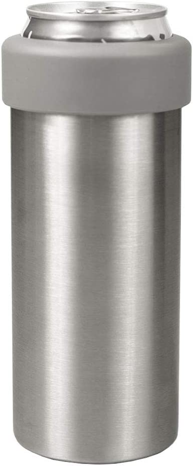 The Skinny Cooler, 12 Oz Slim Can Stainless Steel Double Walled Insulated Can CoolerUPDATED DESIGN (Silver)