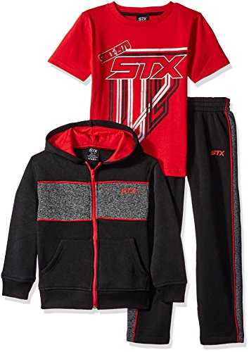UPC 885381524198, STX Little Boys' Toddler 3 Piece Athletic Hoodie, T-Shirt and Pant, Engine Red/Black, 3T