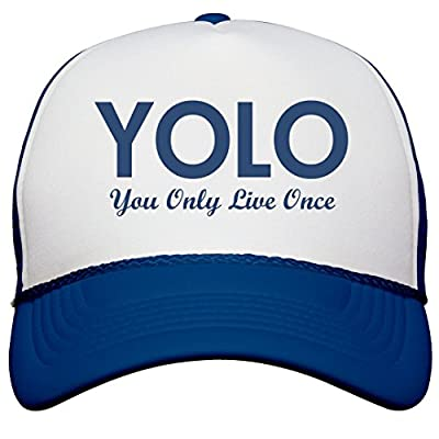 FUNNYSHIRTS.ORG Blue YOLO Trucker Hat: Snapback Trucker Hat