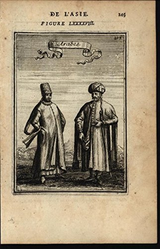 Arabians Native Costumes Robes Turbans Sword 1683 antique engraved print