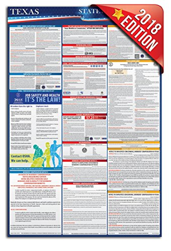 2018 Texas Federal and State Labor Law Posters - UV Protected 24'' x 36'' by State Labor Poster