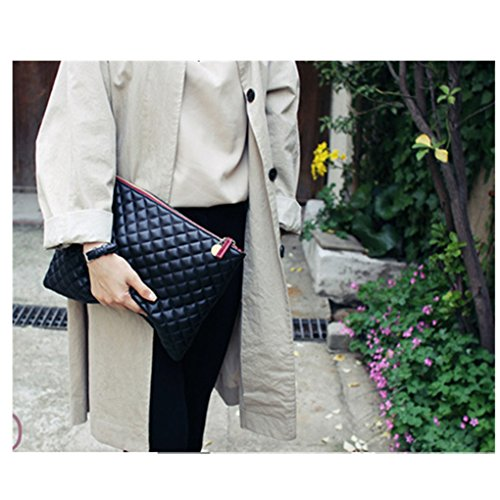 Quilted Oversized Fashionista Diamond Bag Tote Handbag Purse Pouch Solid Amily Pattern Color Bag Envelop Clutch Blue Leather Shoulder 0xqdpw
