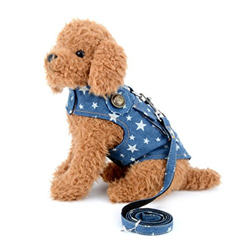 smalllee_lucky_store Denim Vest Harness with Back Pocket for Small Dog Cat,Jean Jacket with Harness Hook,Easy on and Off Star Print S by smalllee_lucky_store