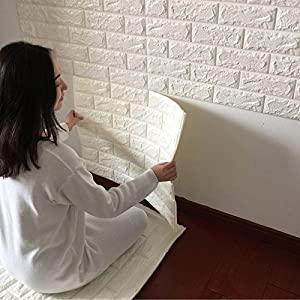 TTOCK Creative 3D Wall Stickers Self Adhesive Pattern Wallpaper Wallpaper  Bedroom Decorating The Living Room TV Background Wall Brick Waterproofing ,  White Part 94
