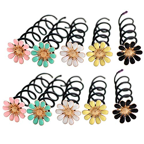 10PCS Lovely Assorted Color Flower Spiral Spin Screw Hair Pins Bobby Pins Twist Insert Hairpins Barrette Hair Clips Hair Bun Styling Tool Hair Accessories for Women Lady Girls Color Random
