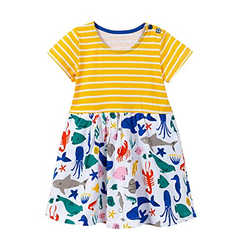 (HILEELANG Toddler Baby Girl Spring Summer Dress Cotton Strip Ruffle Pajamas Dress)