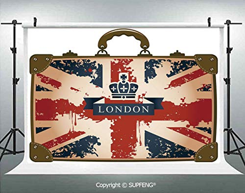 Photography Background Vintage Travel Suitcase with British Flag