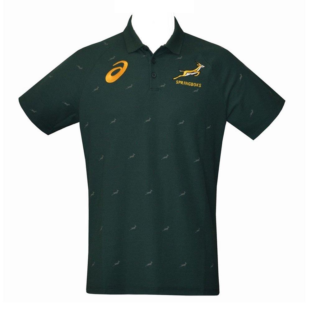 2017-2018 South Africa Springboks Performance Polo Shirt (Bottle Green) Asics