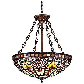 "Ornamental Tiffany Style 24"" Wide Art Glass Pendant Light - Robert Louis Tiffany"