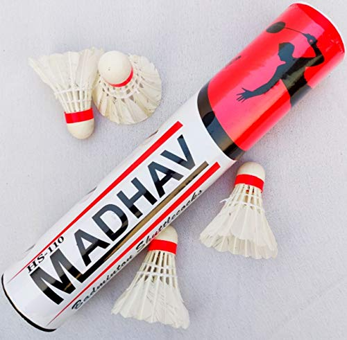 HS10 Madhav Shuttlecock Pack of 10 Feather Shuttle Cock  White  by NC Sports