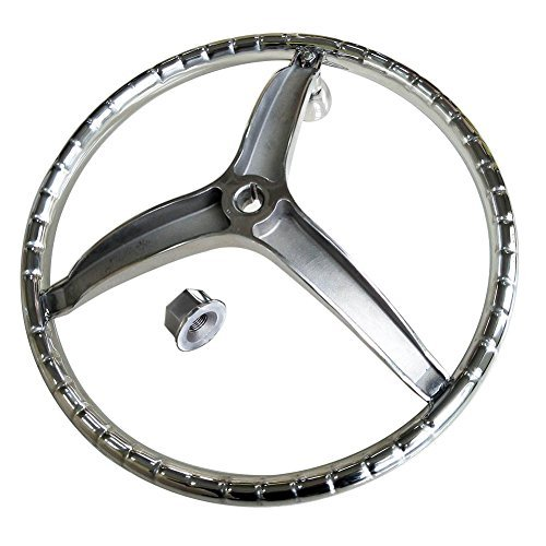 HOFFEN Sports Steering Wheel 13-1/2'' with 5/8'' -18 Nut and Turning Knob and Pressed Finger Grip for Better Contral & Eye Catching Style. Fits 3/4'', Shaft RIM Size 1'', Suit Seastar & Verado
