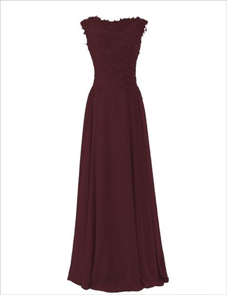 Wedding House,Lange Chiffon Abschlussball Kleider Scoop Abendkleider mit Applikationen PPC3