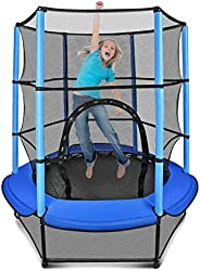 Gulujoy Mini Trampoline for Kids Indoor Outdoor with Enclosure Net and Safety Pad 55 Inch, Age 2-10, Heavy Dut