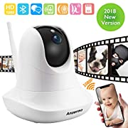 Dome Camera 1080P, Anzermo Full HD Wireless Baby Monitor, WiFi Camera, Preceded Night Vision, Two-way Audio Talk/ Mic, Pan Tilt Zoom Flexible IP Camera for Indoor Security,Smartphone PC Tablet, White