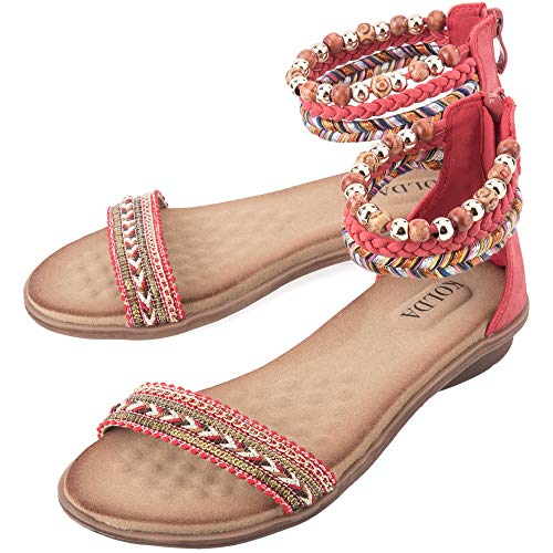 KOLDA Women Boho Ankle Strap Flat Sandals Braided Open Toe Platforms Comfy Zipper Closure Shoes for Ladies Girls Memory Foam Footbed Arch Support, Black, Red, Khaki