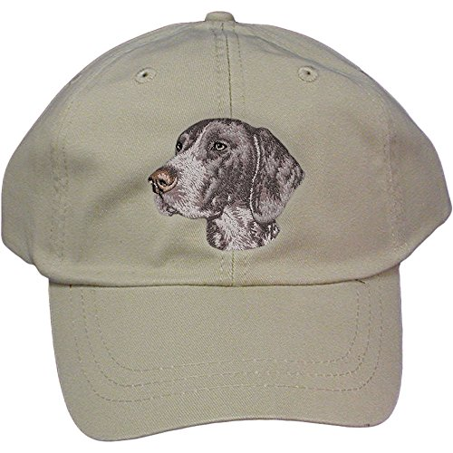 - Cherrybrook Dog Breed Embroidered Adams Cotton Twill Caps - Stone - German Shorthaired Pointer