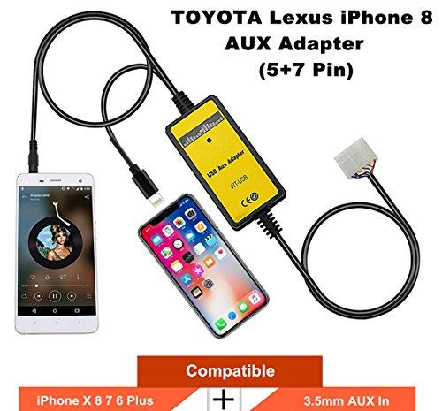 toyota lexus iphone x 8 7 aux adapter car audio cd changer lightning 5 7 pin. Black Bedroom Furniture Sets. Home Design Ideas