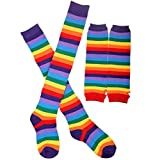 #9: Chalier Womens Rainbow Stripe Knee Thigh High Socks Arm Warmer Fingerless Gloves