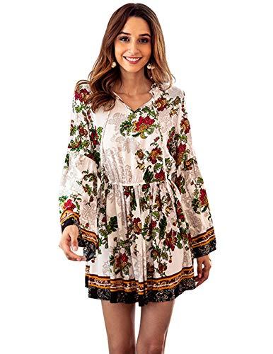 Womens Bohemian Floral Printed Ethnic Style Casual Tunic Dresses Boho Blouse Mini Dress