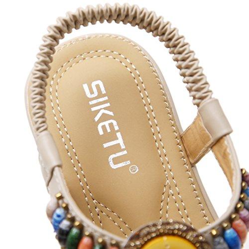 Sandale Talon Fortuning's Femmes Style JDS® Strass Compensé Plage Perlé D'été Beige T Strap Bohème qHT1nwqf