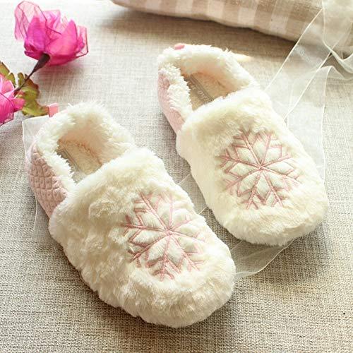 SED Zapatillas - casa Grande Copo de Nieve Invierno Zapatillas de Invierno Navidad Dulce Bolso con Mujeres Zapatos de...