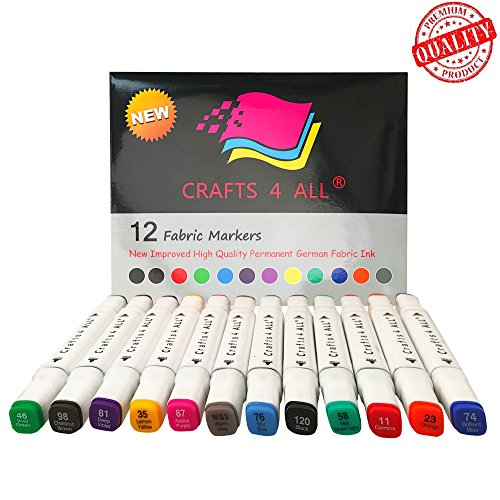 Fabric Markers Pens Permanent MINIMAL BLEED 12 Pack Premium Paint quality bright Color dual tip stained graffiti BY Crafts 4 ALL.Child safe, non-toxic