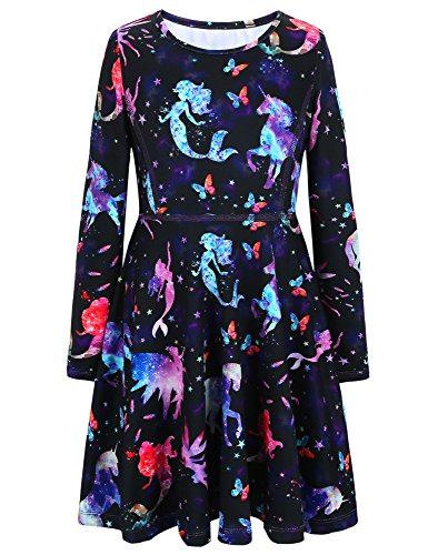 Jxstar Girls Dress Starry Unicorn Print Dress Long Sleeve Tshirt Dress Starry Unicorn 130