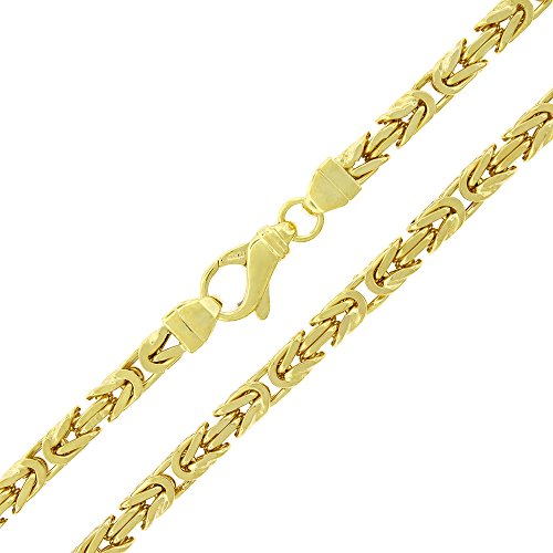 Sterling Silver 5mm Hollow Byzantine Box Link - 18K Yellow Gold Plated - Light-Weight 925 Necklace Chain - 24