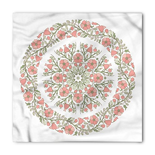 Dusty Rose Bandana by Lunarable, Mandala Inspired Floral Round with Curvy Branches and Blossoms, Printed Unisex Bandana Head and Neck Tie Scarf Headband, 22 X 22 Inches, Pale Pink Reseda Green (Rose Round Blossom)