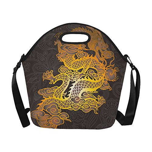 Chinese Paper Dragon Costume (Chinese Dragon Neoprene Waterproof Insulated Lunchbox Portable Carry Tote Picnic Storage Bag Lunch box Food Bag Gourmet Handbag For School Work Office)