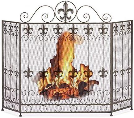 暖炉スクリーン 3つのパネルの錬鉄の暖炉スクリーン-スクロール設計、68×28×85cmの屋外/屋内黒い金属の火花の監視カバーの赤ん坊の安全な暖炉の