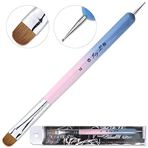 Ivy-L Premium 2 Way French Gel Acrylic Nail Art Kolinsky Brush With Dotting Tool for Professional Manicure Cuticle Clean Up Nail Art Design, Pink Blue Wood Handle (Size - French Manicure Brushes