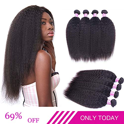 Brazilian Kinky Straight Human Hair 4 Bundles Yaki Straight Hair Weave 8A Unprocessed Brazilian Virgin Human Hair Extensions Kinkys Straight Hair Weave Natural Black Color 50g/pcs (10 10 10 10)
