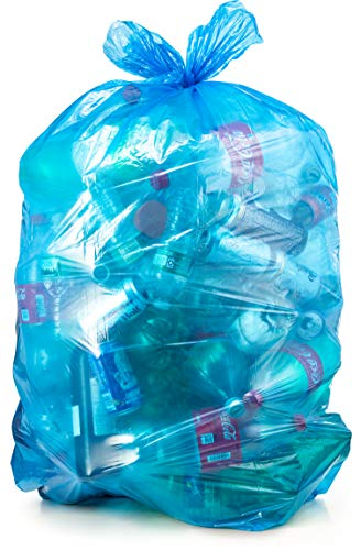 Recycling Trash Bags 55 Gallon, Large Blue Plastic Garbage Bags, 50/Case (Recycle Plastic Bags)