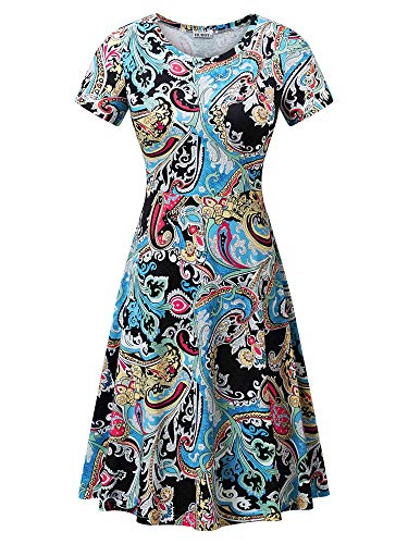 HUHOT Ladies Spring Summer Flattering A-Line Midi Dresses with Sleeves Flower-24 ()