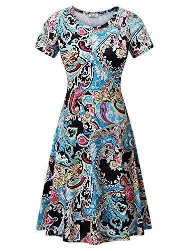 HUHOT Ladies Spring Summer Flattering A-Line Midi Dresses with Sleeves Flower-24 Large